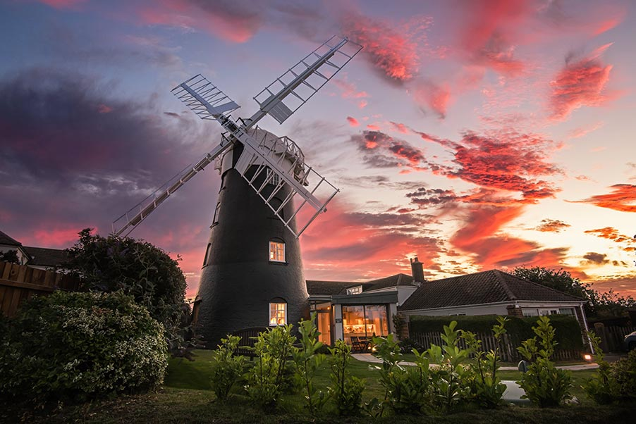 Stow Mill holiday accommodation at sunset